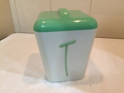 Vintage Featherlite Gayware Nally Retro Canister 1950's Green & White - Tea