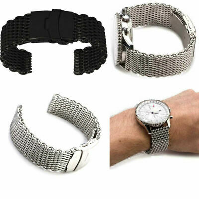 20/22/24mm Silver Stainless Steel Bracelet Shark Mesh Watch Band Wrist Strap Men