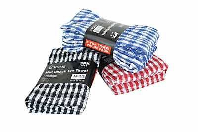 "100% Cotton Terry Tea Towel Mini Check 160GSM 16"" x 24"" Size Pack of 3, 6, 9,12"
