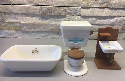 Vintage Sylvanian Families Bathroom Flushing Toilet Sound Ceramic Sink Bath Rare