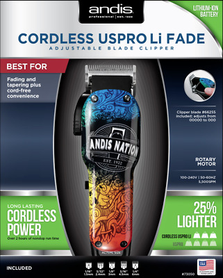 Andis Nation Cordless USPRO Li Fade Hair Clipper + 2 FREE ENVY LONDON GRIPPERS