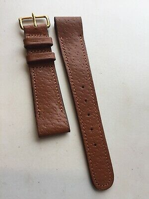 Vintage Watch Strap Pigskin Leather NOS Brass Buckle Fixed Lugs 19mm Made In UK