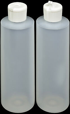 Plastic Bottle (HDPE Natural) w/White Turret Lid, 8-oz., 100-Pack, New