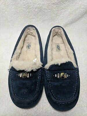 d798acf9003 NEW NIB UGG Ansley Chunky Swarovski Crystals Moccasin Slippers Suede ...