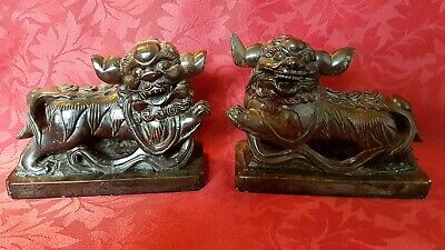 Rare Pair Antique Chinese Black Stone Foo Dog Figures . Lion Dogs
