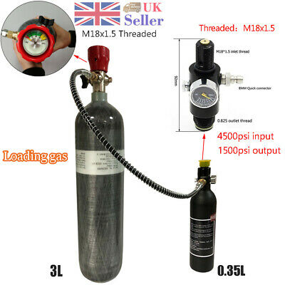 Hot 3L 4500psi Carbon Fiber Air Tank & Fill Station for PCP Paintball SCUBA SCBA