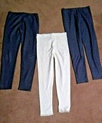 OLD NAVY White Girl's Leggings with LACE TRIM Full Length XL - 14 Excellent!!