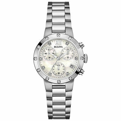 Brand New Bulova Mother of Pearl Diamond Dial tone Stainless Steel 96R202