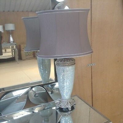 Bronze Sparkle Mosaic Small Antique Silver Regency Lamp With Chocolate Shade