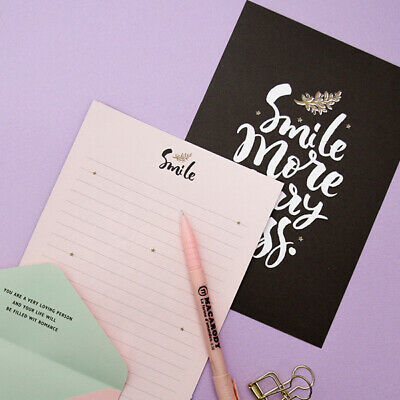 1x Smile More Worry Less Letter Set - 4sh Writing Stationery Paper 2sh Envelope