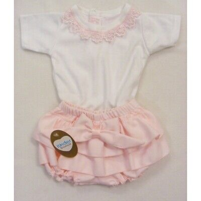 Stunning Baby Girls Spanish Style Pink Waffle Bow Frilly Jam Pants & White Top