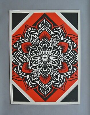 Lotus Diamond - Red : Signed Artist Proof  Screen Print : Obey : Shepard Fairey
