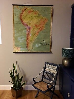 Large Vintage Johnson School Map Of South America.