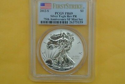 2012-S (Reverse Proof) Silver Eagle PCGS PR-69 75th Anniv SF Mint First Strike