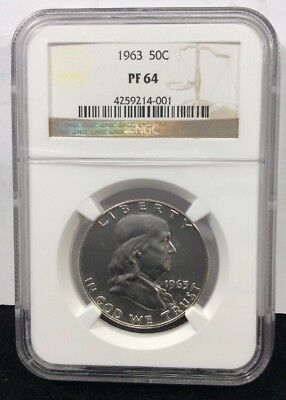 1963 50C (Proof) Franklin Silver Half Dollar NGC PF64