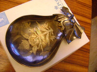 Vintage solid Brass Ornate, Pear Shaped with a beautiful engraving, ashtray
