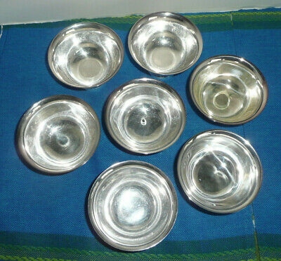 LOT Vintage Reed & Barton PAUL REVERE DESIGN Footed Sml Bowls Silverplate (7 )