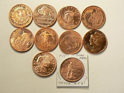 Copper Bullion 1 OZ Coins Lot of 10 Different .999 Pure Rounds #2820