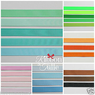 9mm X 5m Grosgrain Ribbon High Quality 15 Colours scrapbooking Hair Bows Crafts