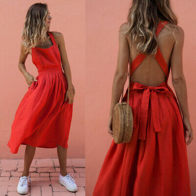 Womens Red Boho Sundress Summer Holiday Beach Party Strappy Maxi Backless Dress