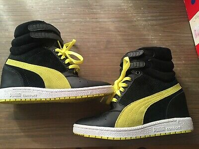Women Puma Contact Sky High Black Fluorescent Yellow Wedge Sneakers Size 7  Shoes d583bf001