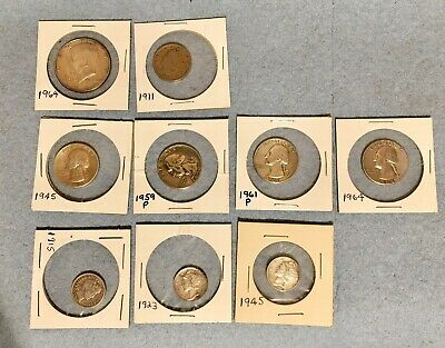 Old US Silver Coin Collection Lot of 8 plus 1 Copper-Bronze Nickel