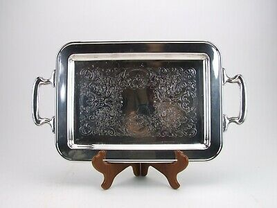 Antique Silverplate Footed Serving Tray Rectangle Unmarked