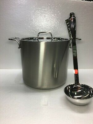 All-Clad D5 Brushed 7-Qt. Non-Stick Stock Pot with lid and All-clad Ladle.