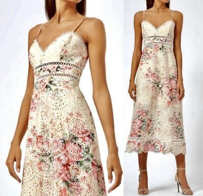 a93fbdd3710c3 NWT Auth Zimmermann Laelia Diamond Bralette Meadow Floral Cotton Dress Size  AU 1