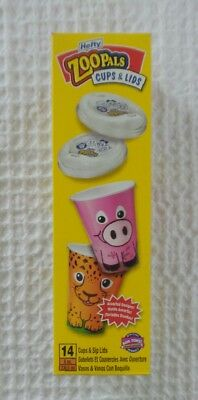 HEFTY ZOO PALS Cups & Lids 14 Assorted Designs + Fun Facts Discontinued Package