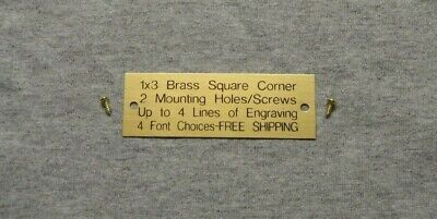 1x3 Custom Engraved Brass Plate Square Corner 2 Holes/Screws Plaque Trophy Pet