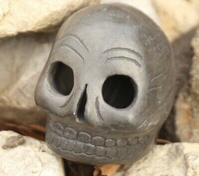 Aztec Death Whistle ceramic skull screaming flute mayan relic hand carved piece