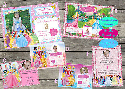 Personalized Disney Princess Birthday Invitation Digital File 5X7
