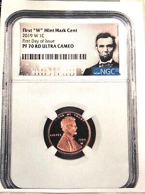 """2019- W Lincoln First """"west Point"""" Cent """"first Day Of Issue"""" Ngc Pf70 Red U.c."""