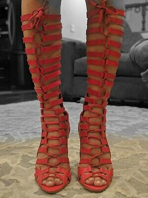 9cdb6c57025 Vince Camuto NEW Olivian Tall Knee-High Authentic Leather Gladiator Heels  Size 6