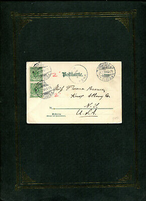 Germany 1899 card 'STRASSBURG' to N.Y. state w/receiving cancel