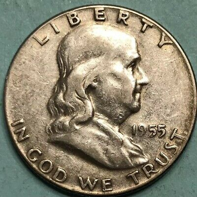 1955 Franklin Half Dollar Circulated Condition 1955-P 50C Silver KEY-DATE Coin