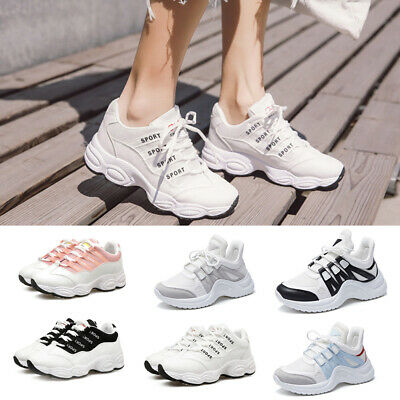 Womens Sports Shoes Platform Wedge Lace Up Jogging Jogger Athletic Sneakers Size