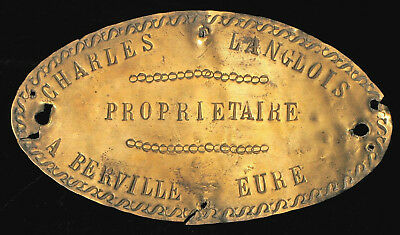 Antique French Brass Building Plaque Charles Langlois Owner Berville Eure Rare