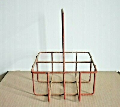 1950s Wire Crate 4 Milk Bottle Holder Carrier