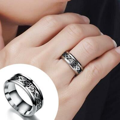 Fashion Silver Celtic Dragon Titanium Stainless Steel Men's Wedding Band-Rings