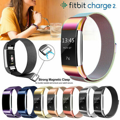 For Fitbit Charge 2 Band Stainless Steel Large Metal Milanese Strap Replacement