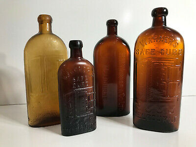 Warners Safe Cure - Collection of 5x Antique Amber Glass Bottles - Australian