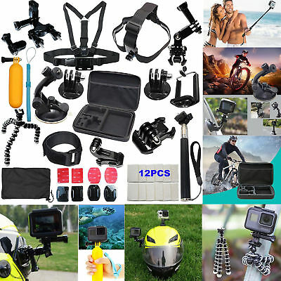 Accessories Kit for Gopro Hero 7 6 5 4 Session Black Tripod Action Camera Case
