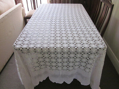 Gorgeous Vintage Snow White Crochet Lace Bedspread Or Tablecloth