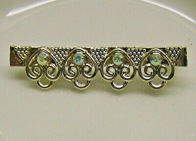 Brooch pin finding, silver-finished pewter/crystal AB, 40x10mm/4 loops
