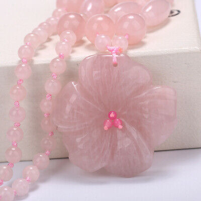 Women's Fashion Necklace Flowers Pendant Rose Quartz Charm Chinese Style Jewelry