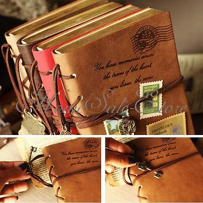 New Classic Retro Vintage Leather Bound Blank Pages Notebook Note Journal Diary