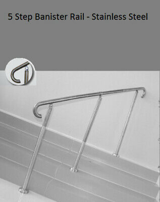 5 Step Banister Grab Hand Rail Floor Mounted Stainless Steel Awards AS Standard