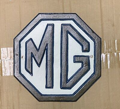 MG Morris Garages Red and Yellow Octagon Cast Iron Sign Plaque